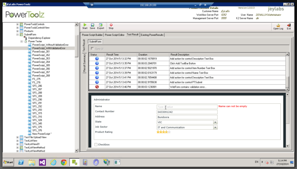 SmartForm Test Detecting Validation Errors