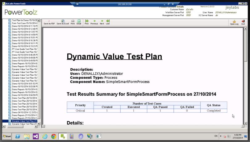 Test Report in PDF